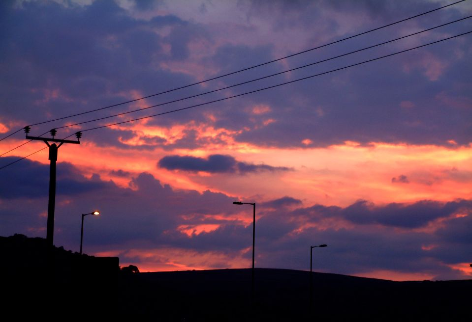 sunset over aire valley