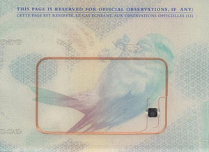 A biometric passport chip