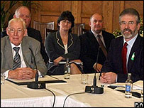 Ian Paisley and Gerry Adams side by side