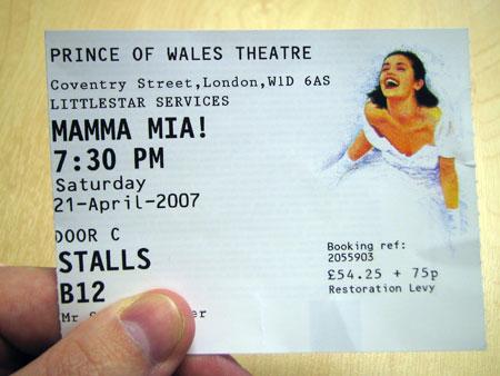My Mamma Mia Ticket