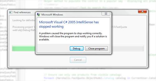 One of many Visual Studio crashes on Vista