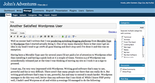 Wordpress on John's Adventures