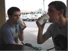 Brothers Having Coffee