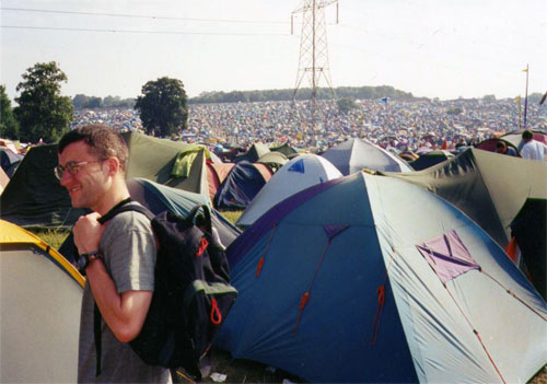 Scott and a seas of tents at Glastonbury