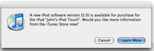 A message about the iTouch v2 software update