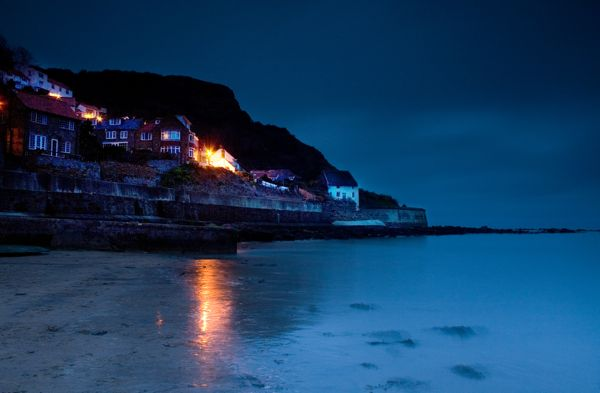 Runswick Bay By Night