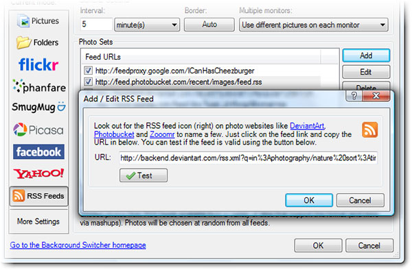 The RSS Add Feeds Dialog