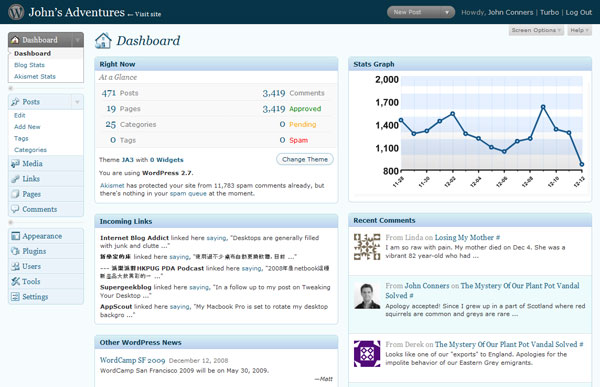 The New-Look WordPress 2.7 Dashboard