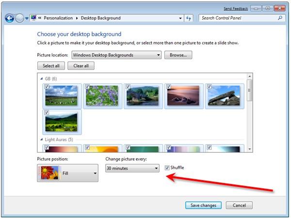 Windows 7 Desktop Slideshow Options