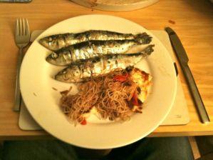 Grilled Sardines With Crispy Halloumi