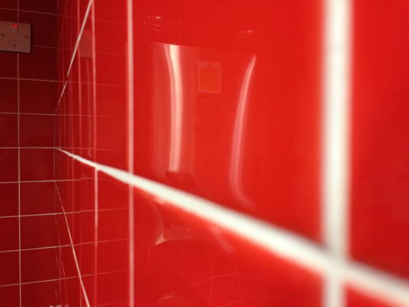 Red Tiles In The Customer Kitchen