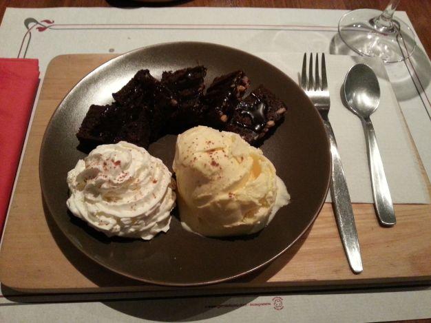 Brownie and ice cream