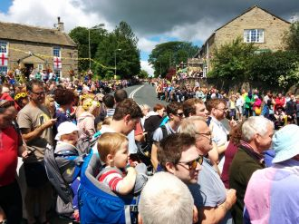 A huge crowd waiting in Addingham