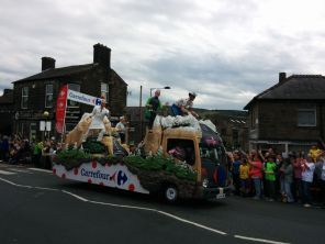 One of many floats passing by
