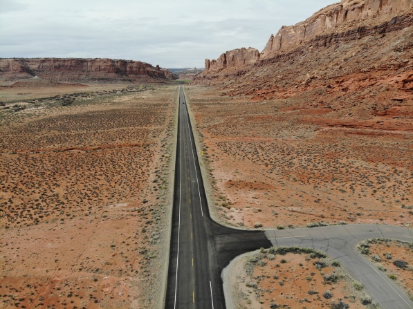 The first of many impossibly straight roads