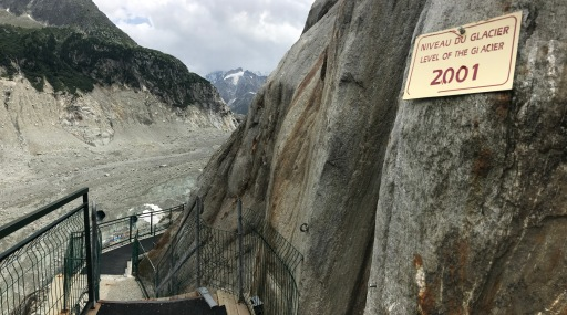 The Mer de Glace level in 2001