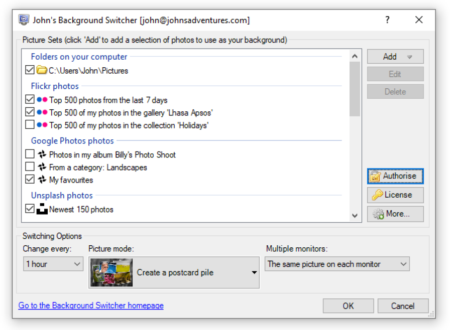 The John's Background Switcher settings dialog